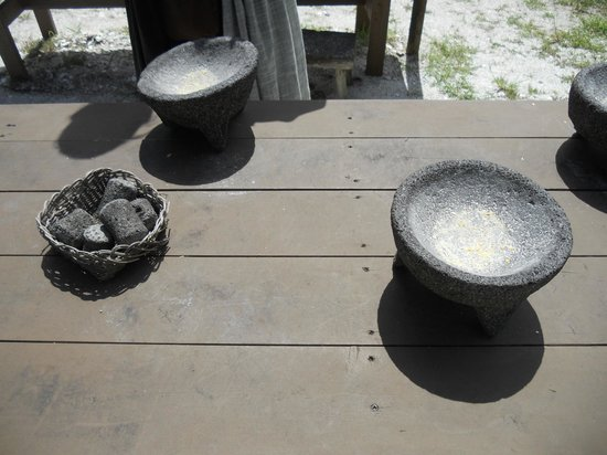 Fort Menendez at the Old Florida Museum: Tools for grinding corn