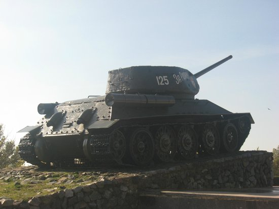 The Suvorov Monument: Near monument (WW2 memorial tank)