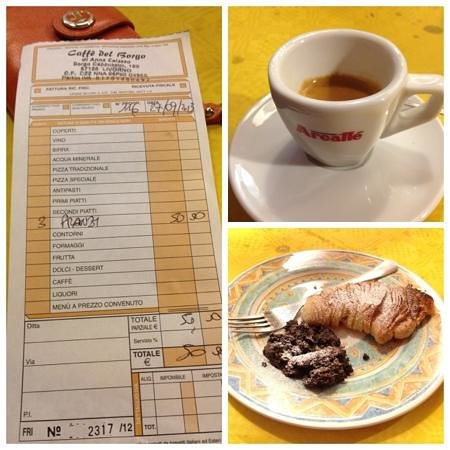 Osteria Caffe del Borgo: мы поели, выпили вина и съели десерт))) и наш счет... оно того стоило!!!