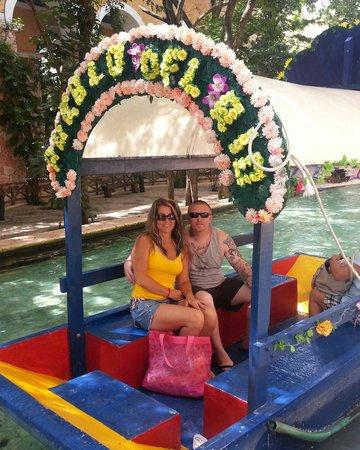 Occidental at Xcaret Destination: lil boat running through the resort
