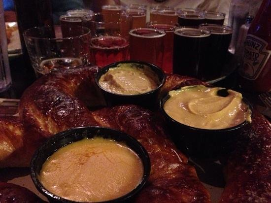 Montana Brewing Company: gigantic pretzel and IPA sampler
