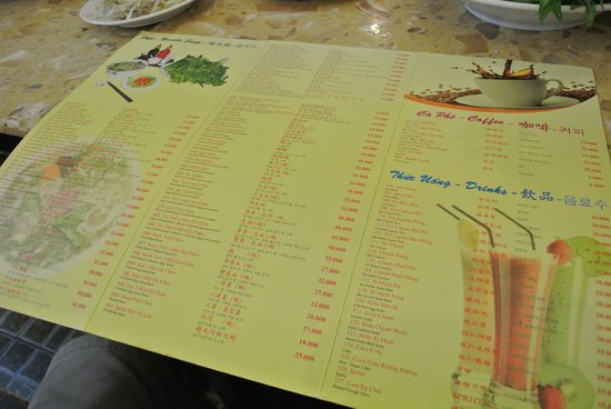 Pho Hung: Menu with English & Chinese