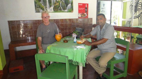 Sea Turtle Farm and Hatchery: cool natural coconut juice with my taxi driver