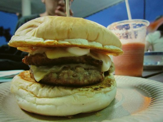 43 Cafe: double pork pork. tomato plum drink behind.