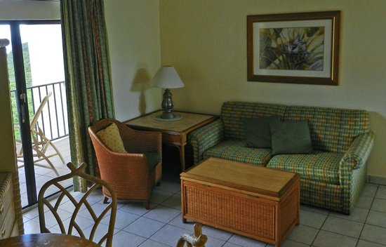 Flamboyan on the Bay Resort & Villas: Living room area with pull out couch