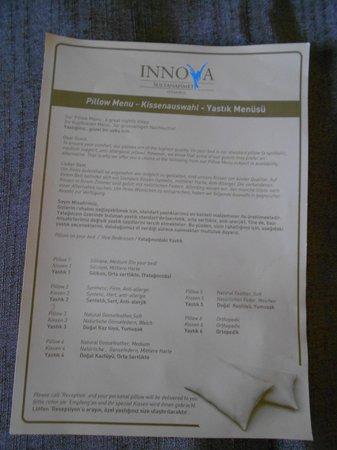 Innova Sultanahmet Hotel: Le menu pour choisir votre oreiller préféré