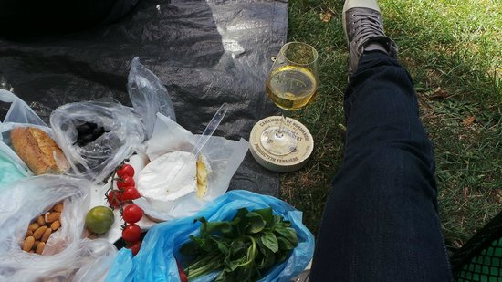 Fat Tire Tours Paris: Having a picnic while being taught about the Impressionists