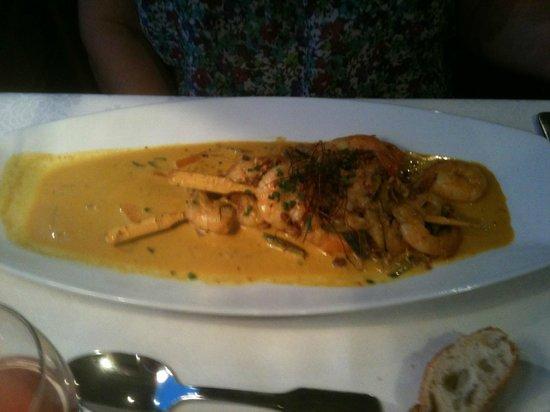 Restaurant Le jardin De Leontine : Brochettes de crevettes Balnaises