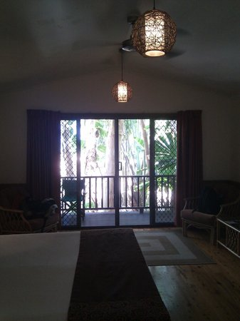 Kewarra Beach Resort & Spa : Wide window of the studio suite looking outside towards the beach through the trees