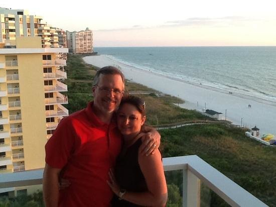 Marriott's Crystal Shores: hubby and I on gorgeous balcony of our room.