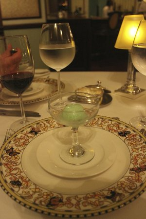 Sandals Royal Plantation : Palate cleansing sorbet at Le Papillon. Lovely!