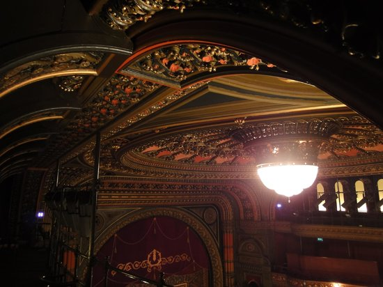 the richly decorated ceiling of Leeds Grand Theatre