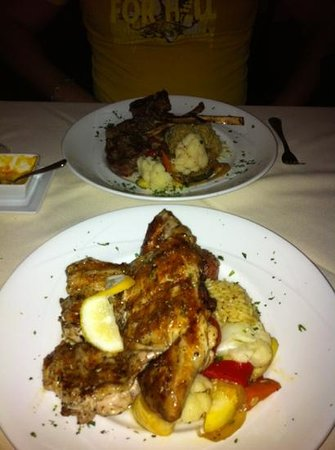 Athos Restaurant: full chicken and lamb chops
