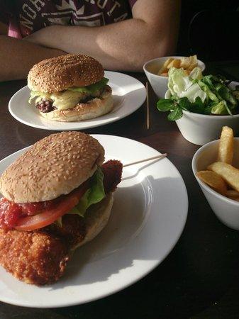 Gourmet Burger Kitchen: Beef & Chicken Burger, chips & salad,
