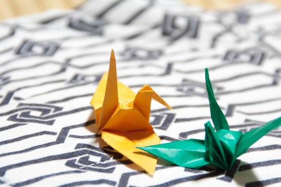 Lovely touch: origami cranes on top of yukata at Fuji-Hakone Guest House