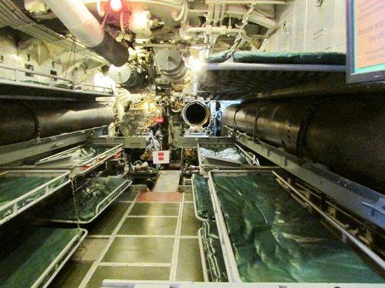 USS Silversides Submarine Museum : Forward torpedo room, USS Silversides