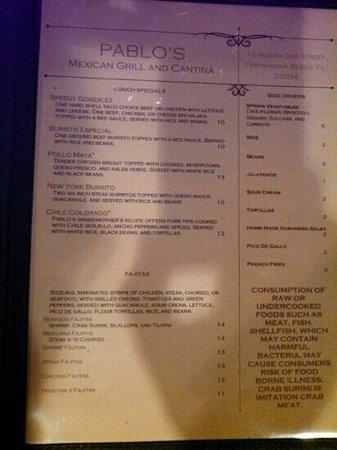 Pablo's Mexican Cuisine : menu page 2