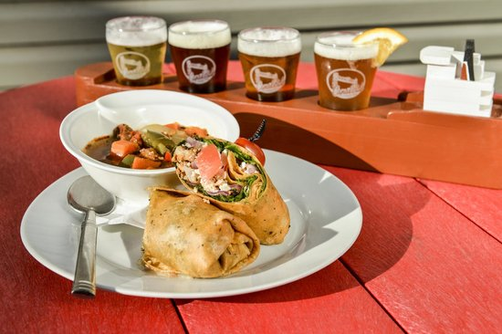 Turkey & Peach Wrap with Roasted red pepper sauce with Ship of Beers