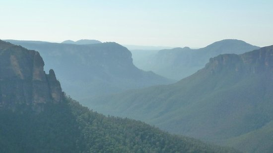 The Grose Valley from Govetts Leap shrouded in smoke from controlled burns