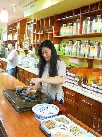 Vital Tea Leaf: Karina making tea for guests