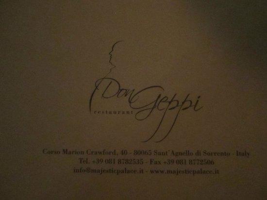 Don Geppi: Menu