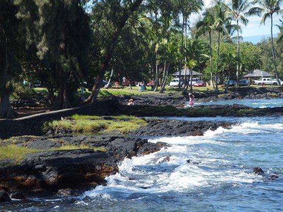 Richardson Beach Park : black rocky shoreline