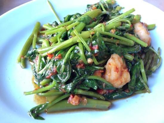 Tek Sen Restaurant : shrimp and kang kong - yummy!