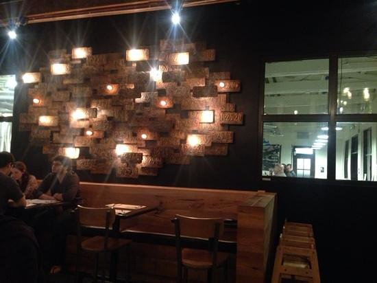Umami Burger: Awesome rusted licence plate light fixture