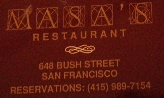 Masa's Restaurant : Matchbook circa 1990-2000