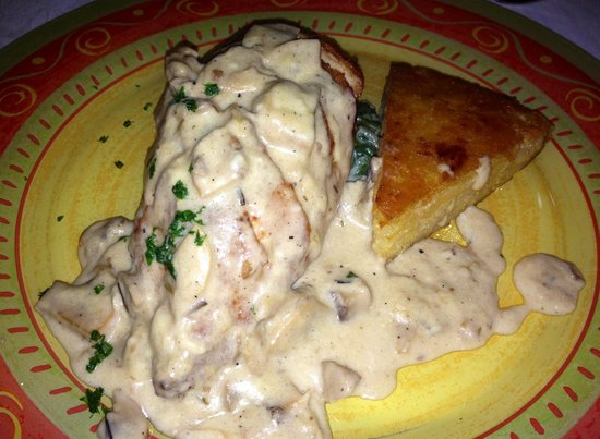 Kilroy's of Kathmandu: Pan seared chicken breast stuffed with naks cheese covered in a mushroom cream sauce and served
