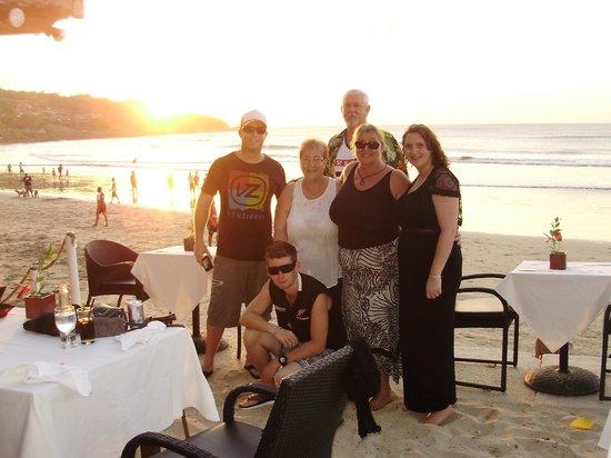Karma Royal Jimbaran: The whole gang at Jimbaran beach club restaurant