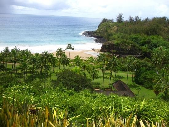 McBryde Garden: The beach at the foot of the Lawai Valley, with the Allerton House.