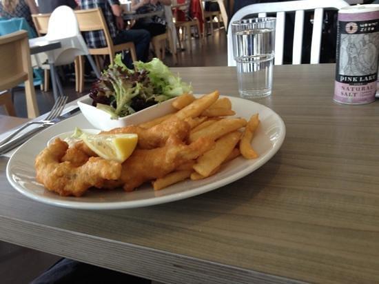 Little Blue Restaurant: crispy fish n chips n salad $22