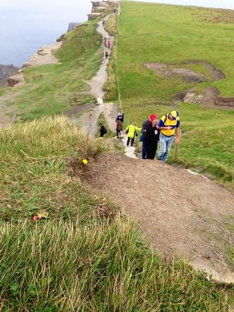 Doolin Cliff Walk: Pat is in the yellow and blue and my mother-in-law held onto his backpack up the last set of ste