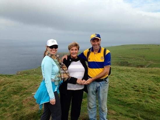 Doolin Cliff Walk: Pat with my mother-in-law and me