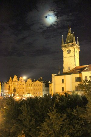 Old Town Square Apartments: view from window to astronomical clock tower