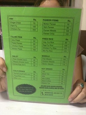 Western Tandoori: menu