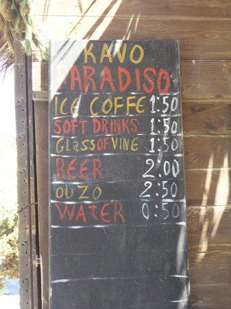 Cavo Paradiso: listino bar