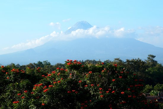 Sheraton Mustika Yogyakarta Resort and Spa: view on Merapi volcano from restaurant balcony