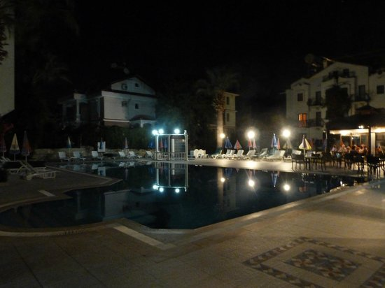 Oykun Hotel: main pool at night