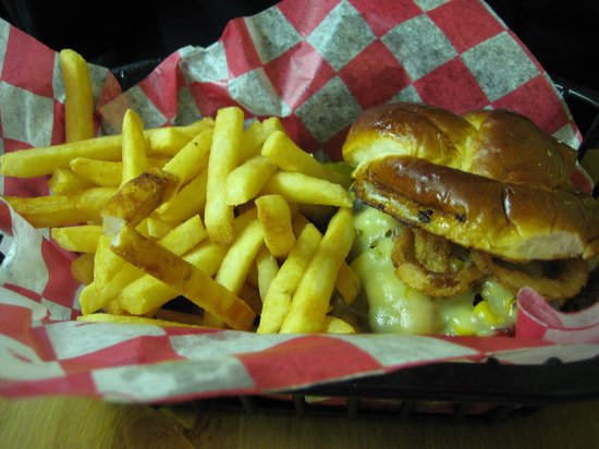 Chuck Wagon of Mackinac : Western Burger -- with gourmet touches of corn relish and crunchy tortilla stips