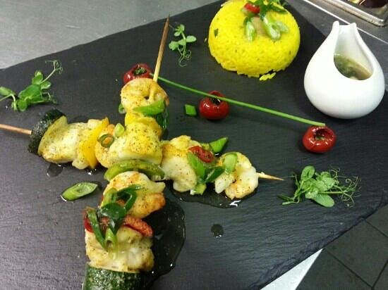 Hatters Bistro: Monkfish and king prawns kebabs with golden savoury rice and ginger & spring onion sauce