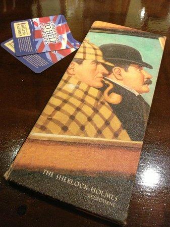 Sherlock Holmes: Front of menu