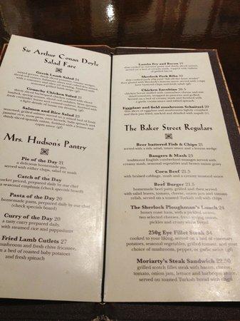 Sherlock Holmes: menu