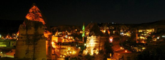 Taskonak Hotel: night time view over Goreme from terrace