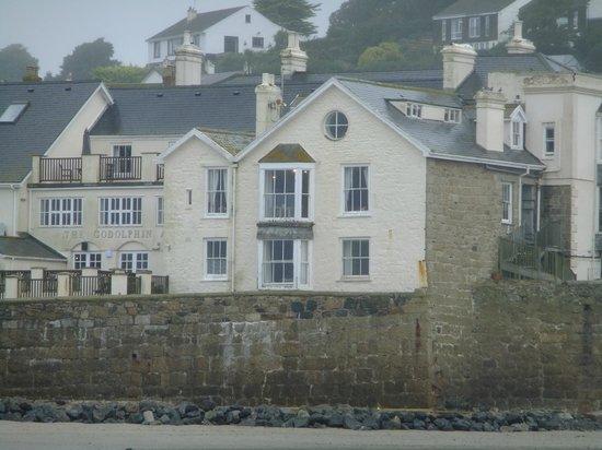 Godolphin Arms: inn, from the beach