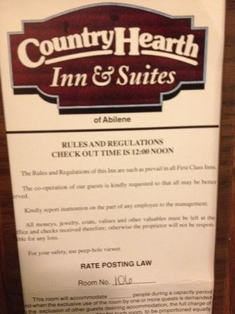 Country Hearth Inn & Suites Abilene: Their own sign stating checkout time