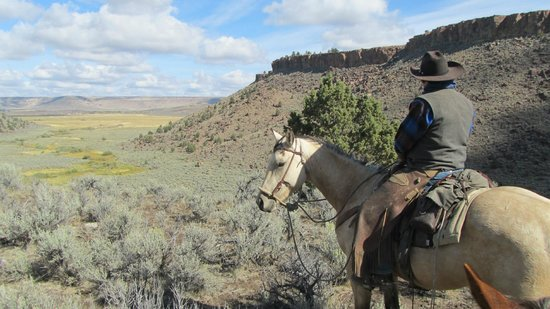 Steens Mountain Guest Ranch: Our host, Tim, looking back at the canyon from which we rode