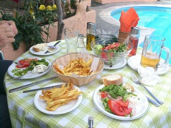 Argo Studios: Anne's chips and Greek salad washed down with Athos beer make a fine lunch