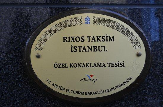 Rixos Taksim Istanbul: Hotel Front